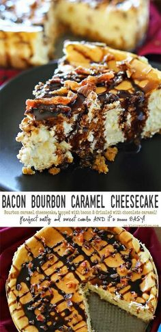 Bacon Bourbon Caramel Cheesecake is bourbon caramel flavored cheesecake, topped with crispy bacon & drizzled with chocolate-caramel. It's an easy cheesecake recipe you don't want to miss. Bacon Cheesecake, Easy Cheesecake Recipes, Dessert Recipes, Cheesecake Toppings, Bacon Cake, Bacon Bacon, Cheesecake Deserts, Homemade Cheesecake, Candied Bacon