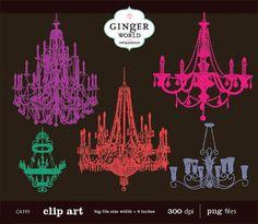 Chandelier Clip Art by GingerWorld on Etsy