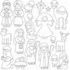Nativity Digital Clip Art Set and Coloring Pages por DigiPops                                                                                                                                                                                 Más
