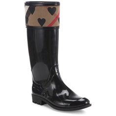 Burberry Crosshill Heart Check Rain Boots ($375) ❤ liked on Polyvore featuring shoes, boots, black, knee-boots, burberry, knee boots, burberry boots, black boots and black wellington boots