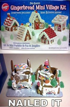 """""""Nailed It"""" Fails. Look at all Really Funny, made me laugh til I cried. Pinterest Fails, Pinterest Projects, Christmas Humor, Christmas Crafts, Xmas, Merry Christmas, Christmas Houses, Christmas Parties, Christmas Time"""