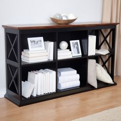 Have to have it. Belham Living Hampton Console Table Bookcase in Black/Oak - $279.99 @hayneedle