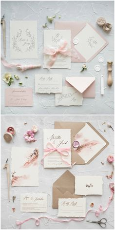 NEW calligraphy wedding invitations already in store! Delicate and romantic designs with real satin ribbon #calligraphy #handmade