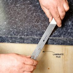 File Downward - Installing Laminate Countertops: http://www.familyhandyman.com/kitchen/countertops/installing-laminate-countertops