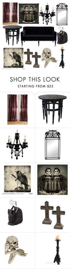 """""""gothic living room"""" by abbey-mcclellan ❤ liked on Polyvore featuring interior, interiors, interior design, home, home decor, interior decorating, Anthropologie, Noir, Gallery and WALL"""