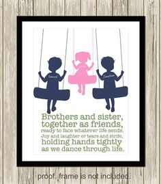 Sister and brother wall art, siblings art, personalized kids art, shared room de. Boy And Girl Shared Room, Boy Girl Room, Baby And Toddler Shared Room, Sibling Room, Brother Sister Quotes, Funny Sister, Sibling Gifts, Deco Kids, Shared Bedrooms