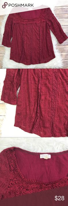 "Anthropologie Meadow Rue Lace Melange Top Good condition Anthropologie Meadow Rue Lace Melange Top. Size Small. Stretch Lace. Sheer sleeves, lined bodice. Maroon. 96% nylon, 4% spandex. Lined in rayon. Bust 37"", length 24.5"", sleeve length 17""(3/4). Square neckline. No trades, offers welcome. Anthropologie Tops Blouses"