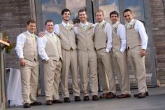 country wedding groomsmen outfits. Linen vests and ties- From JCPenny!