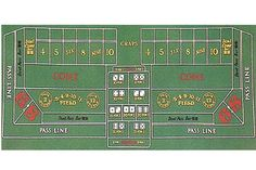 """72"""" x 36"""" Casino Craps Felt by Brybelly. $9.99. This new portable felt has a layout for Craps. Craps is games played in Casinos around the world. Now bring the excitement of casino gaming to your home. This playing surface provides all betting aspects needed to play the game of craps.  The Layout is 36"""" by 72"""" and can be easily used on a home table for parties. The layout travels well and is water resistant. Great for a gift!"""