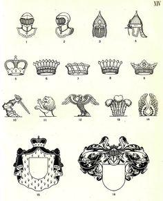 В русской геральдике приняты два вида стальных шлемов: Западноевропейский с пятью решетинами, изображаемый прямо (XIV, 1) или обращенным вправо (XIV, 2) и     Древнерусский шлем, который также может быть поставлен прямо (XIV, 3) или обращен вправо (XIV, 4).