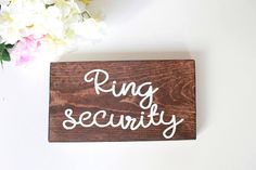 Ring Bearer Wood Signs Custom Wood Wedding Sign Personalized Hand Painted Wood Wedding Sign Ring Security Sign Here Comes the Bride Wedding In The Woods, Our Wedding Day, Perfect Wedding, Dream Wedding, Wood Wedding Signs, Wood Signs, Painted Letters, Painted Wood, Hand Painted