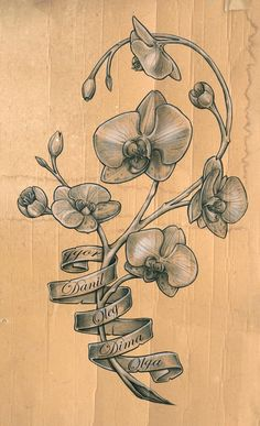 orchid tattoo sketch by *DLXONE on deviantARTi love this Spontaneous and Random   tattoos picture orchid tattoo
