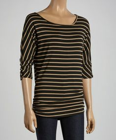 Black & Tan Stripe Ruched Dolman Top by Chris & Carol #zulily #zulilyfinds