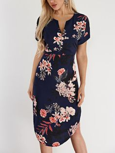 Navy Floral Print V-neck Short Sleeves Dresses - US$21.95 -YOINS