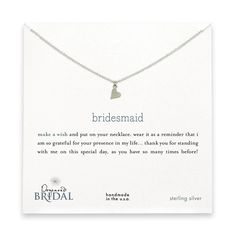 bridesmaid reminder bridal necklace with sterling silver sideways heart