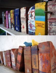 via szymon:(tumblr)    Literature Heavyweights - salvaged bricks faking books by Daryl Fitzgerald