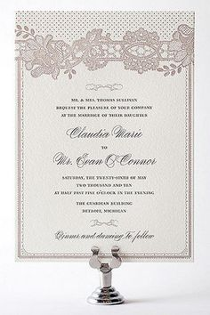 So elegant vintage letterpress wedding invite