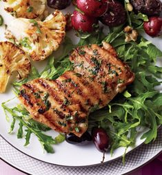 Mario Batali's Herbed Citrus Chicken - swap watercress for the arugula, and oregano for the marjoram, for a flawless all-in-one H-Burn dinner.