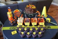 Construction Birthday Party Dessert Table, Costco Cake, Dig In, Dirt Cups, Cupcake Toppers, Build Your Own Dirt Cup