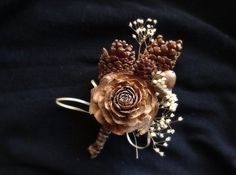 Pine cone boutonniere groom rustic wedding lapel by MomoRadRose, $15.00