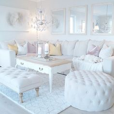 Beautiful Romantic Living Room Design And Decor Ideas - Living-room is the most significant and most open room at home, it invites visitors, it mirrors our lifestyle, so it ought to be only kept up. You sho. Romantic Living Room, Glam Living Room, Living Room Decor Cozy, Living Room White, White Rooms, Interior Design Living Room, Home And Living, Living Room Designs, Bedroom Decor