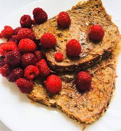 Édes bundáskenyér málnával High Protein Vegan Breakfast, Vegan Protein, Free In French, Egg Free, French Toast, Berries, Tasty, Sweet, Food