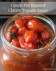 Crock-Pot Roasted Cherry Tomato Sauce {via CrockPotLadies.com} - This fresh sauce uses less than 5 ingredients, is vegan, vegetarian and gluten free and is simply amazing served over your favorite pasta. Or as a brushetta topping!