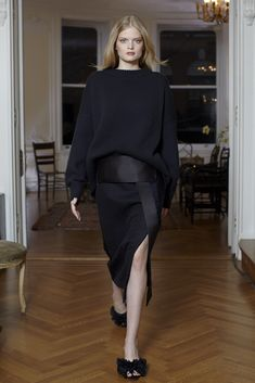 The Row - Fall 2013 Ready-to-Wear - Look 8 of 24: oversized knit, wrap skirt, texturised