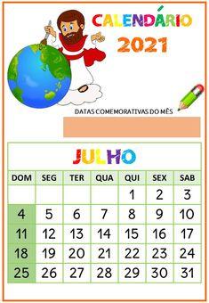 Educação infantil facil: Calendário o Maior Pintor do Mundo 1, Kids, July Calendar, Kids Calendar, Dates, Good Morning Wishes, Christ, Games, Calendar