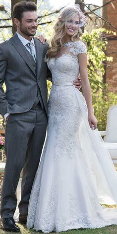 ca74ce3c0e2e9 Elegant Tulle Jewel Neckline 2 In 1 Wedding Dress With Lace Appliques &  Beadings & Detachable