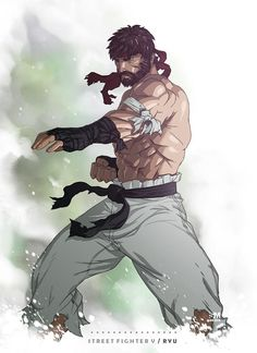 """Battle Costume Ryu, I think that's what this """"costume"""" is called. Done with Wacom Bamboo, PS Ryu is owned by Capcom Street Fighter V - Ryu Street Fighter Characters, Fantasy Characters, Snk King Of Fighters, Street Fighter Tekken, Art Anime, Anime Comics, Chun Li, Game Character, Game Art"""