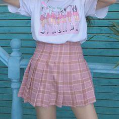 Pink/grey grid tall waist pleated skirt SE10281