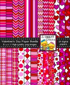 Add some love to your products with our Valentines Day background paper bundle! 24 colourful, as well as, vibrant PNG file backgrounds are included in this set! Once purchased, backgrounds can be used for personal or commercial purposes. Kindly remember to include a link back to our TPT store: http://www.teacherspayteachers.com/Store/2-Smart-Chicks Happy creating!To preview the quality of our work, you can download our Background Paper and Borders - Fuzzy Dots Bundle FREEBIE!