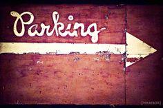 Park It - 8x12 Car parking sign rustic photography print burnt brick red cream arrow antique old home office room decor wall art park black. $22.00, via Etsy.