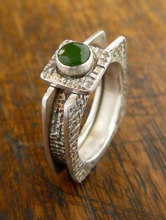 Box ring with jade by Joan Furilla.