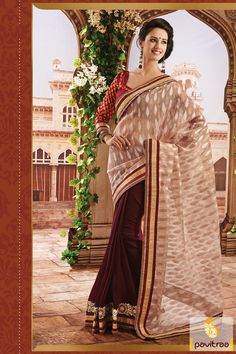 Cream red violet indigo designer Saree is made great with embroidery works, stone works, lace patti works and moti works. Chiffon made elegant costume. #sarees #designersarees #stylishsarees #weddingsarees #onlinesarees #indiansarees #embroiderysarees #saris #partywearsarees #bridalsarees #casualsarees #silksarees