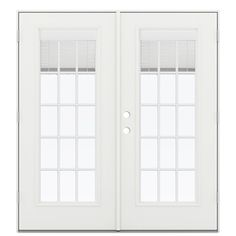 reliabilt 715 in blinds between the glass arctic white fiberglass french outswing patio door - 5 Ft French Patio Doors