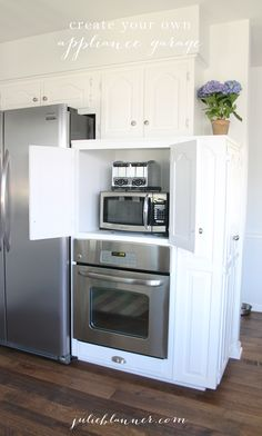 Hide your kitchen appliances & maximize storage with this easy diy appliance garage. Get the details at julieblanner.com Oven Cabinet, Kitchen Cabinet Storage, Microwave Cabinet, Kitchen Cabinets, White Cabinets, Cupboard, Kitchen Redo, Kitchen Pantry, Organized Kitchen