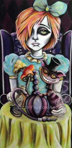 Lizzy Falcon  -  Big eyes Alice in Wonderland with Cheshire cat