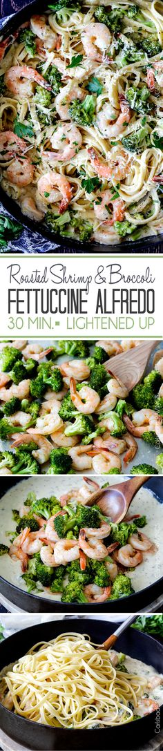 LIGHTENED up 30 Minute Roasted Shrimp and Broccoli in a velvety, creamy Garlic Parmesan Mozzarella Alfredo Sauce without the guilt and a fraction of the price of a restaurant. (Shrimp And Chicken Alfredo) Fish Recipes, Seafood Recipes, Pasta Recipes, Dinner Recipes, Cooking Recipes, Healthy Recipes, Recipies, Broccoli Recipes, Noodle Recipes