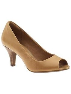 "Cynthia Avant by Clarks (in tan leather). LOVE this simple, 2.5"" peep-toe. $90 at Piperlime."