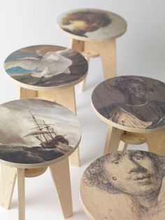 Uncommon materials and uncommon yet simple methods of production inform the work of Piet Hein Eek. This stool is imprinted with images taken from paintings of the Dutch masters.  product design, furniture, wood stool, seating, modern, contemporary, plywood furniture, diy furniture, printed wood