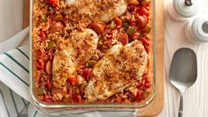 Chicken-and-rice casserole gets jazzed up with andouille sausage, fire-roasted tomatoes, and the trinity of Cajun cooking—green pepper, onion and celery—for a weeknight-easy spin on a classic that'll spice up your dinner menu.