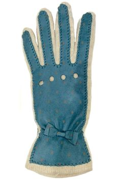 Sporty Teal color Lamb skin Leather with grey color polka dots gloves and mini bow on top; slightly gather at wrist and color block with solid beige wool blend knit bottom. These gloves not will not only keep your hands warm; they also look very stylish with your coat.    Teal Dots Leather Glove by Santacana Madrid. Accessories - Winter Accessories Portland, Oregon
