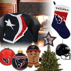 Houston Texans Christmas Ornaments, Stocking, Tree Topper, Blanket