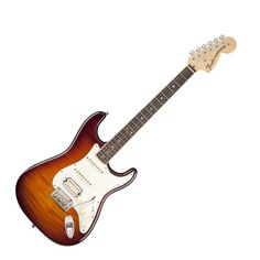 Fender Select Stratocaster HSS TSB  Fender Select Stratocaster HSS TSB e-guitar, alder body with flamed maple thomann top, maple neck, modern C shape, flame maple fretboard, 648mm scale, 22 frets medium jumbo, nut width 42,8mm, 1x fender twin head humbucker and 2 fender select single coil pickups, 5 way switch, 1 volume and 2 tonecontrol, deluxe staggerd Locking Tuners, 2 point thomann synchronized Tremolo, chrome hardware, finish tobacco sunburst, incl. case
