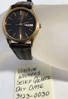 Vintage Womens Seiko Day Date Wristwatch Running 8 Vintage Seiko Watches, Michael Kors Watch, Vintage Ladies, Quartz, Running, Ebay, Women, Racing, Keep Running