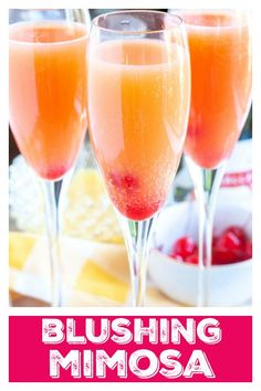 Blushing Mimosas – A dash of pineapple juice and grenadine, adds a lovely twist to this brunch time classic. Mimosa, Brunch, Mother's Day, Easter Mimosa Brunch, Brunch Drinks, Party Drinks, Fun Drinks, Beverages, Breakfast Cocktail, Mimosa Bar, Alcoholic Drinks For Breakfast, Non Alcoholic Mimosa