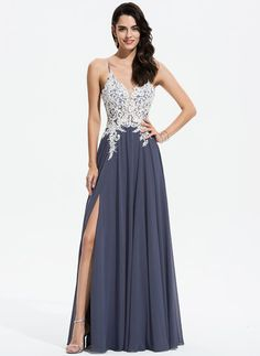 A-Line V-neck Floor-Length Chiffon Prom Dresses With Lace Beading Sequins 1e48bc7c17d3