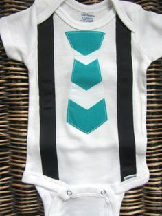 Baby Boy Clothes - Baby Boy Tie and Suspenders Onesie - Blue Chevron Tie With Black Suspenders - Coming Home Outfit